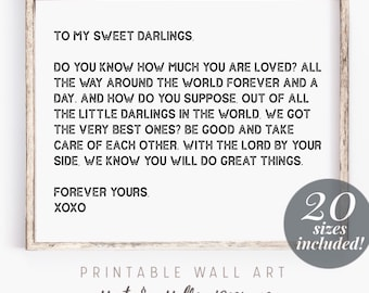 To My Sweet Darlings Printable Wall Art | Nursery Prints | Baby Shower Gifts for Twins | Farmhouse Decor | Valentines Day Gifts for Kids