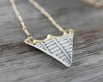 Gold/Silver Luster Ceramic Triangle w/ Black Lines Necklace
