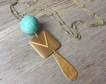 Blue Howlite with Square + Dangle Brass Necklace