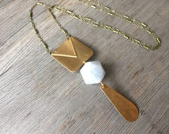 Calcite with Square + Dangle Brass Necklace