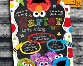 Elmo Invitation Birthday Art Party Crayon Sesame Street 1st Inv R 25