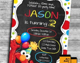 Elmo Birthday Invitation Invite Sesame Street Party 1st R 24