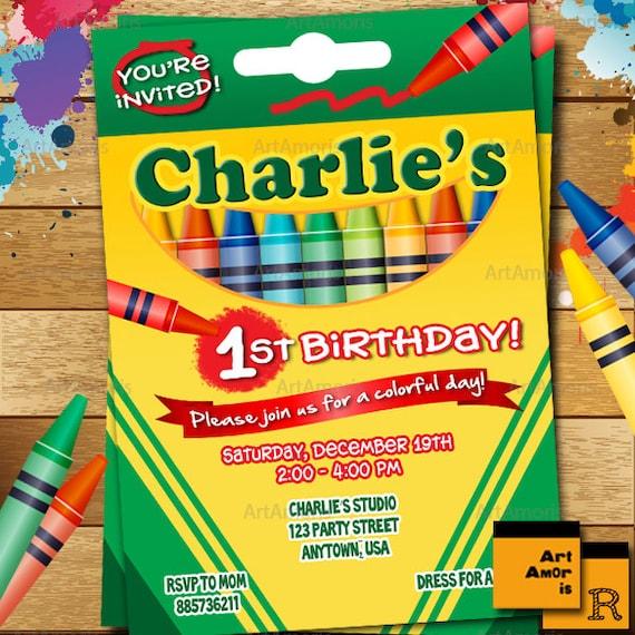 Crayon birthday invitation crayon party invitation crayola etsy image 0 stopboris Gallery