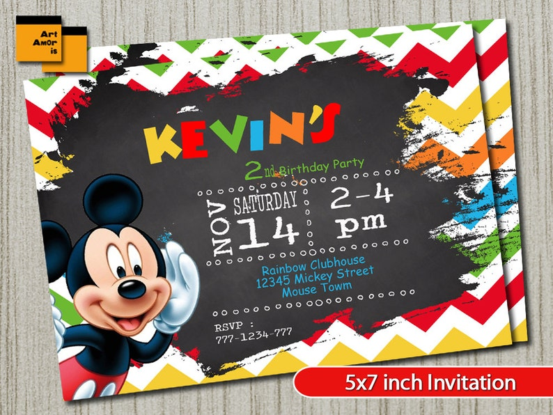 Mickey Mouse Invitation Mickey Mouse Birthday Mickey Mouse Etsy