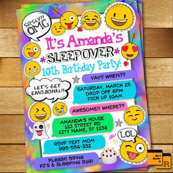sleepover invitation emoji invitation slumber party etsy