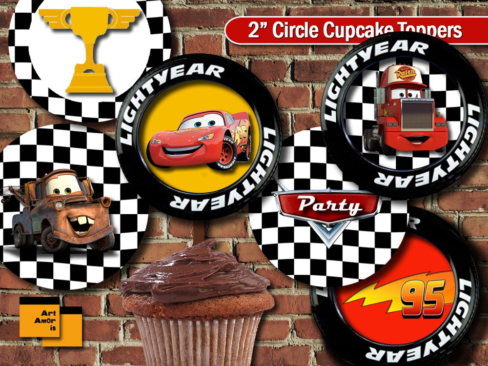 Cars Theme Party Cupcake Topper Birthday Printable Decoration Lightning Mcqueen Car TFP 5