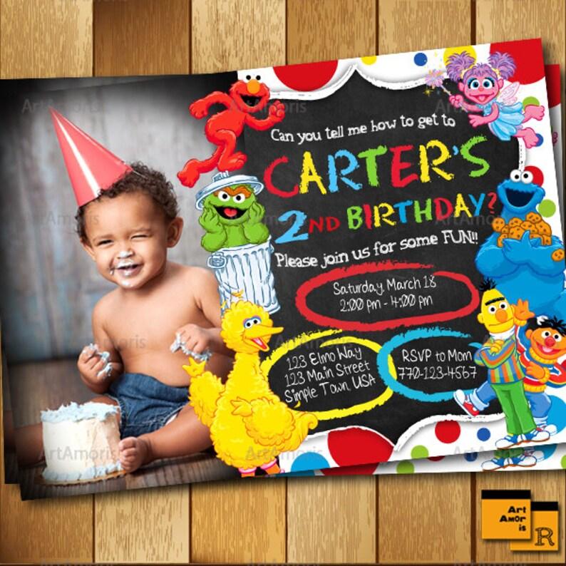 Elmo Invitation Elmo Birthday Invitation Sesame Street Etsy