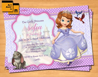 Sofia the First Invitation, Sofia the First Birthday Party Invitation, Princess Invitation, Sofia Birthday Invite M-18
