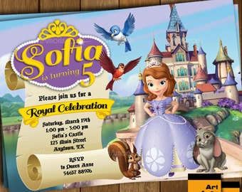 Sofia the First Invitation, Sofia the First Birthday Party Invitation, Princess Invitation, Sofia Birthday Invite R-43