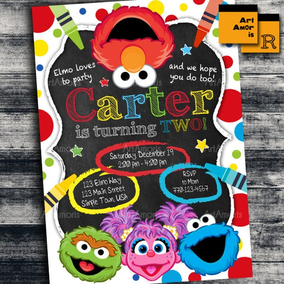 Elmo Invitation Elmo Birthday Invitation Art Party Etsy