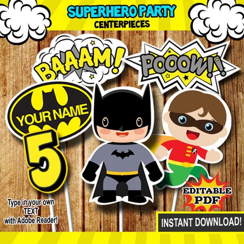 Superhero Centerpieces Batman Robin Centerpieces Party Etsy