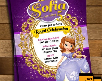 Sofia the First Invitation, Sofia the First Birthday Party Invitation, Princess Invitation, Sofia Birthday Invite R-44