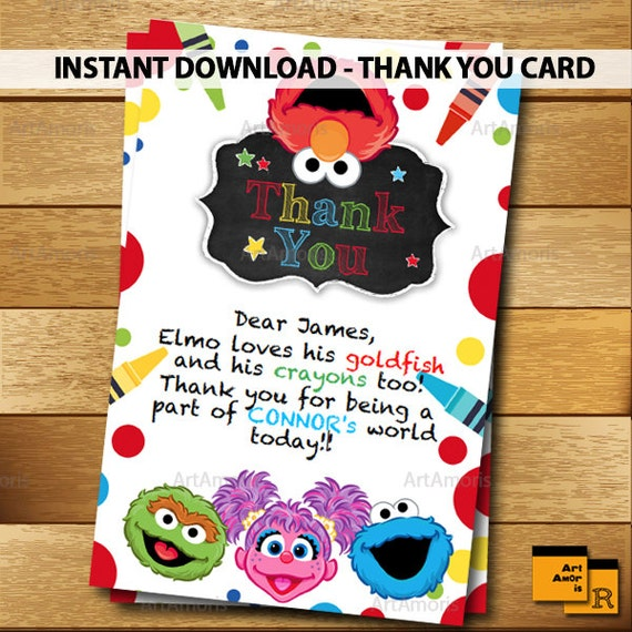Elmo Thank You Card Instant Download Sesame Street Thank You Etsy