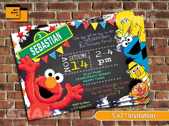 Elmo Invitation Birthday Sesame Street