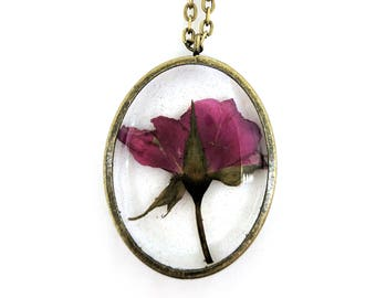 Red Rosebud Resin Pendant Necklace - Real flower in open back oval bezel, Pressed Flower Jewelry - Resin Jewelry - Gift For Her - Real Rose