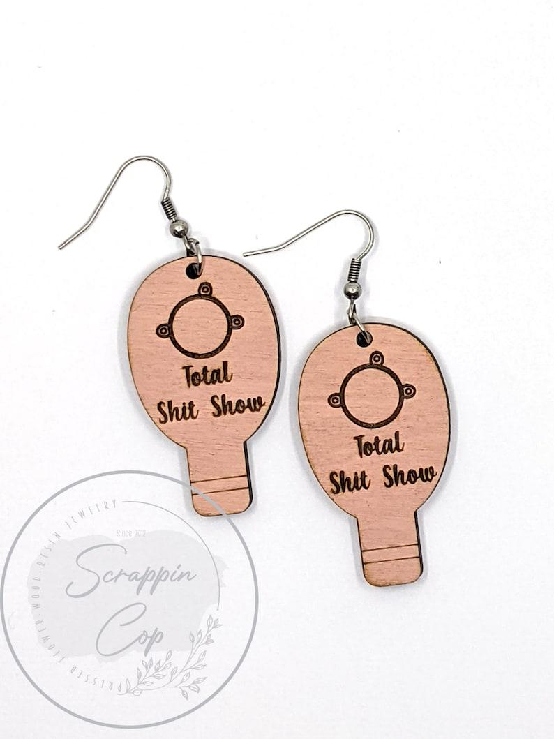Funny Ostomy Wood Earrings  Ostomy Jewelry  Ostomy Awareness image 0