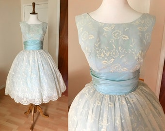 119b87287fd0 Vintage Late 1950s Early 60s Party Dress - ivory lace, blue satin, and tulle  fit and flare cupcake dress with scalloped edge | size small S
