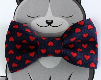 Heart Bow Tie for Cat, Dog Bow Tie, Slide on Collar Accessory, Cat Costume, Pet Bowtie, Handmade in Canada, Navy, Red, Valentine's Day