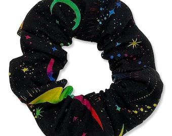 Rainbow Galaxy Hair Scrunchie, 80s, 90s, Retro, Handmade in Canada, Messy Bun, Stars, Moon