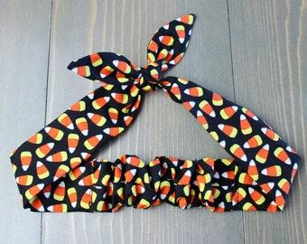 Halloween Adjustable Headband, Rosie Wrap, Bandanna, Hair Tie, Woman's, Baby, Child, Photo Prop, Rockabilly, Candy Corn, Orange, Black