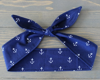 Rockabilly Hair Wrap, Knotted Hair Tie, Rosie Wrap, Self Tie Headband, Bandana, Anchor, Navy Blue, Pinup, Hair Accessory, Nautical, Bow