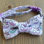 Unicorn Cat Collar with Matching Bow Tie, Doughnut, Breakaway Safety Clasp, Optional Bell, Purple, Donut, Cute, Gift for Cat