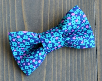 1ae65d132f96 Blue and Pink Floral Print Bow Tie for Cat, Dog Bow Tie, Slide on Collar  Accessory, Handmade in Canada, Spring, Summer, Flowers