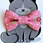 Pink Floral and Polka Dot Print Bow Tie for Cat, Dog Bowtie, Slide on Collar Accessory, Handmade in Canada, Spring, Summer, Flowers
