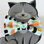Cat Bow Tie, Dog Bowtie, Sushi, Pet Clothing, Slide on Collar Accessory, Pet Bowtie, Handmade in Canada, Food, Fish, Collar NOT included