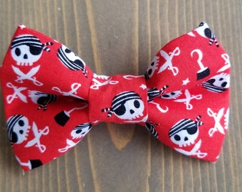 84f31810c999 Pirate Bow Tie for Pets, Cat Bowtie, Dog Clothing, Slide on Collar Accessory,  Collar NOT included, Summer, Skull and Crossbones, Nautical