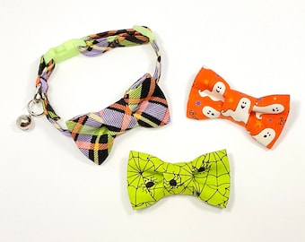 Cat bow tie gift pack, Halloween, Cat Collar with breakaway safety buckle and three coordinating bow ties, Halloween, Ghosts, Spiders, Plaid