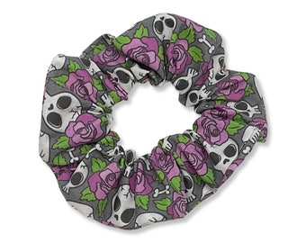 Skulls and Roses Hair Scrunchie, 80s, 90s, Retro, Handmade in Canada, Messy Bun, Purple, Flowers, Floral