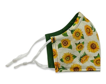 Sunflower Face Mask, Contoured, Double Layer, Washable, Reusable, Filter Pocket, Adjustable Ears, Nose band, Flowers, Fall
