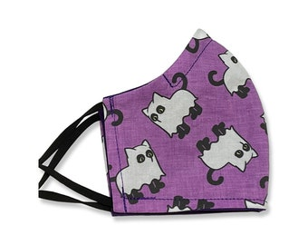 Ghost Kitty, Black Cat, Face Mask, Contoured, Double Layer, Washable, Reusable, Filter Pocket, Adjustable Ears, Nose band, Purple, Halloween