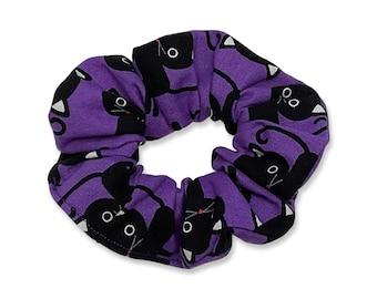 Black Cat Hair Scrunchie, 80s, 90s, Retro, Handmade in Canada, Messy Bun, Purple, Cute Cats