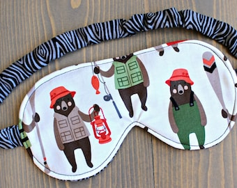 Men's Sleeping Mask, Bears, Fishing, Travel Accessory, Eye Mask, Blindfold, Gift for Man, Father's Day, Cotton, Handmade in Canada
