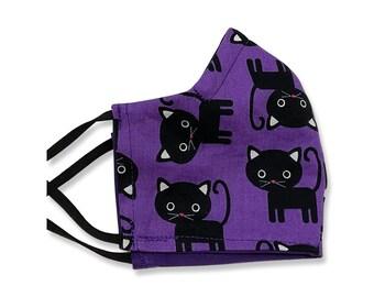 Black Cat, Face Mask, Contoured, Double Layer,, Washable, Reusable, Filter Pocket, Adjustable Ears, Nose band, Purple