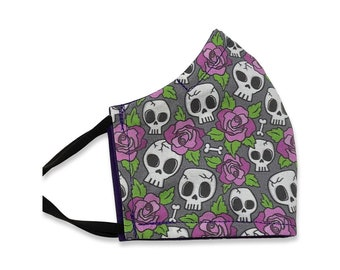 Skulls and Roses, Face Mask, Contoured, Double Layer,, Washable, Reusable, Filter Pocket, Adjustable Ears, Nose band, Purple