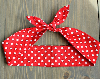 Rosie the Riveter Costume, Rockabilly Knotted Hair Tie, Rosie Wrap, Red White Polka Dots, Pin Up, Retro, Vintage, 50s style, 40s, Top Knot