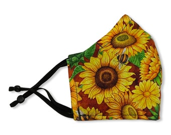 Sunflower Face Mask, Contoured, Double Layer, Washable, Reusable, Filter Pocket, Adjustable Ears, Nose band, Flowers, Fall, Bees
