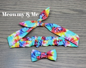 Matching Hair Tie and Bow Tie for Pet Moms and their Cat or Dog, Gift for Her, Handmade in Canada, Mother's Day, Tie Dye, Summer Hair