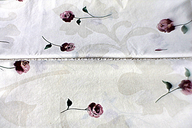 Vintage Fitted Double Sheet and Pillowcases Roses Floral