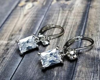 Dainty Bridesmaid Earrings, Bridal Earrings, Wedding Earrings, Dainty Dangle Earrings,  Bridal Jewelry, Christmas Gift, Mom, Aunt, Sister