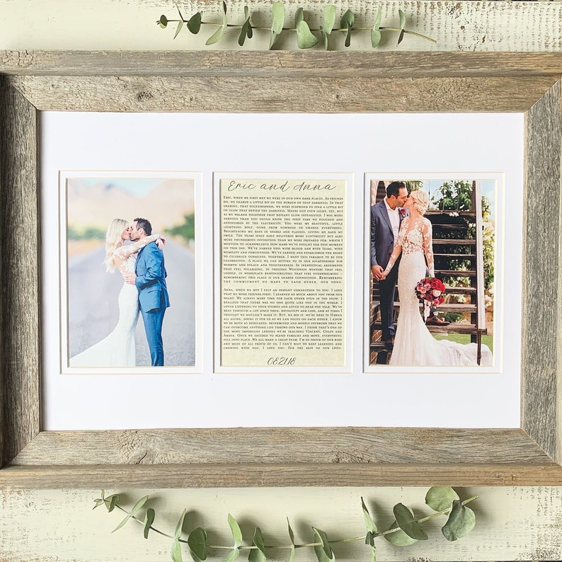 Wedding Gift Vows Personalized Wedding Gift For The Couple: Framed Wedding Picture and First Dance Song Lyrics or Love Letter