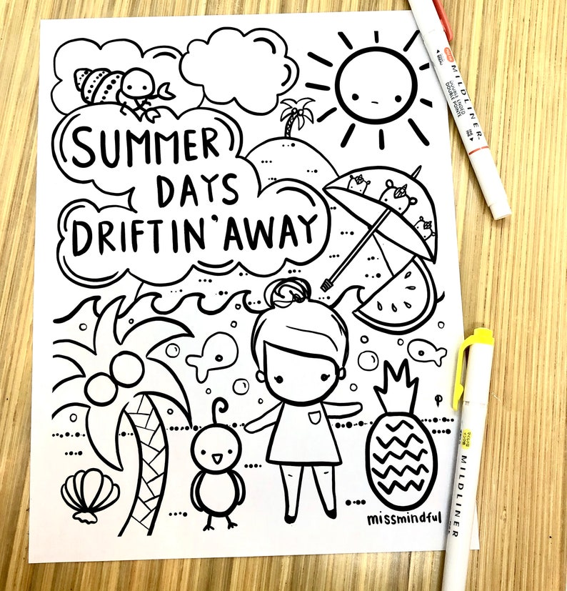Miss Mindful Summer Coloring Sheet  Download image 0