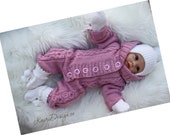 HAND KNITTING PATTERN- Newborn Baby knitting, Baby coming home outfit, Cabled knitted jumpsuit, Baby rompersuit, Hooded onesie