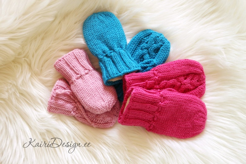HAND KNITTING PATTERN- Baby mittens xox cable pattern Newborn cabled gloves Baby winter mittens Knitting baby accessory