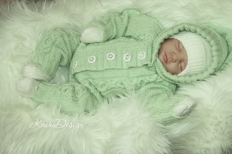 a6c26f310 2 KNITTING PATTERN of baby jumpsuit cable hooded romper baby
