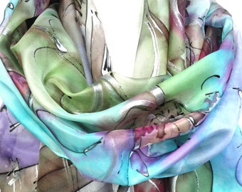 Music Scarf. Rainbow Scarf. Hand Painted Scarf. Musical Notes Scarf. Butterflies Scarf. Woman Silk Shawl. 18x71in (45x180cm) MADE to Order