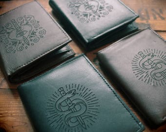 Engraved Tattoo Black / Brown Leather Wallet
